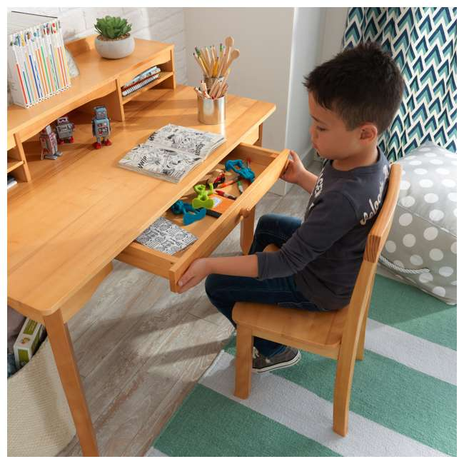 26707 KidKraft Avalon Wooden Kids Room Study Desk with Hutch & Chair Set, Natural 9