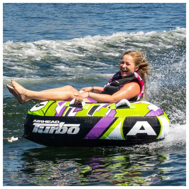 AHTB-11 Airhead Turbo Blast 56 Inch 1 Person Inflatable Boat Towable Water Inner Tube 4