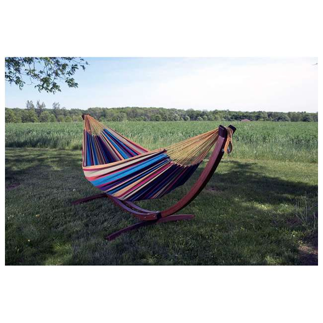 C8SPCT-31 Vivere Double Cotton 2-Person Hammock with Solid Pine Stand (2 Pack) 2