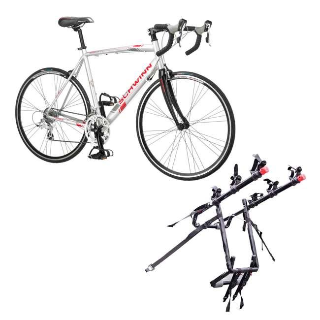 S5491 + 103DN-R Schwinn 700C Phocus 1600 Womens Drop Bar Road Bicycle & 3 Bike Car Trunk Rack