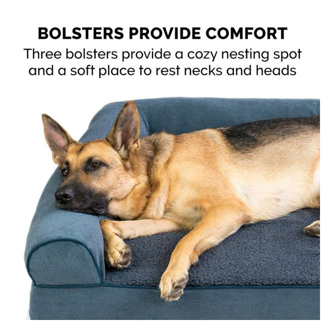 85503225BX Furhaven Cooling Gel Memory Foam Faux Fleece Couch Pet Bed, Orion Blue, Jumbo 3