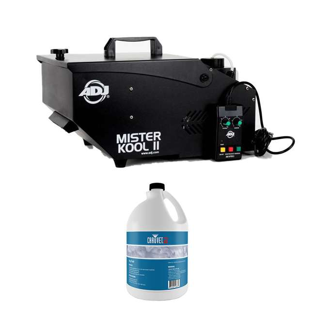 MISTER-KOOL-II-BLACK + 2 x FJU American DJ Black Low Lying Water Fog Machine w/ Fog Juice (2 Gallons)