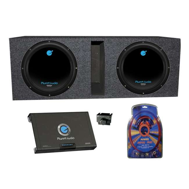AC10D + QBASS10 + AC20002 + 4GAMPKIT-SFLEX Planet Audio AC10D 10-Inch 3000W Subwoofers with Ported Box with 2 Channel Amp with Wiring (Pair)