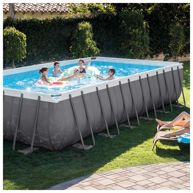 Intex 24 39 x 12 39 x 52 ultra frame rectangular swimming pool set 26361eh 2 x 58868ep 58821ep for Intex 18 x 9 x 52 ultra frame swimming pool