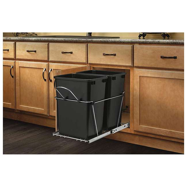 RV-18KD-18C S-30 Rev A Shelf RV-18KD-18C S Double 35 Quart Pull Out Waste Bin Container, Chrome 1