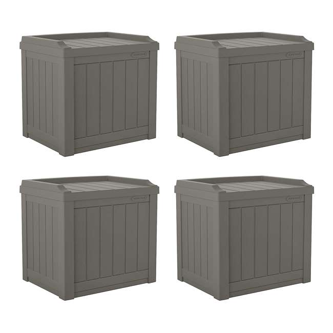 4 x SS601ST Suncast 22 Gallon Small Resin Patio Storage Deck Box and Seat, Stoney (4 Pack)