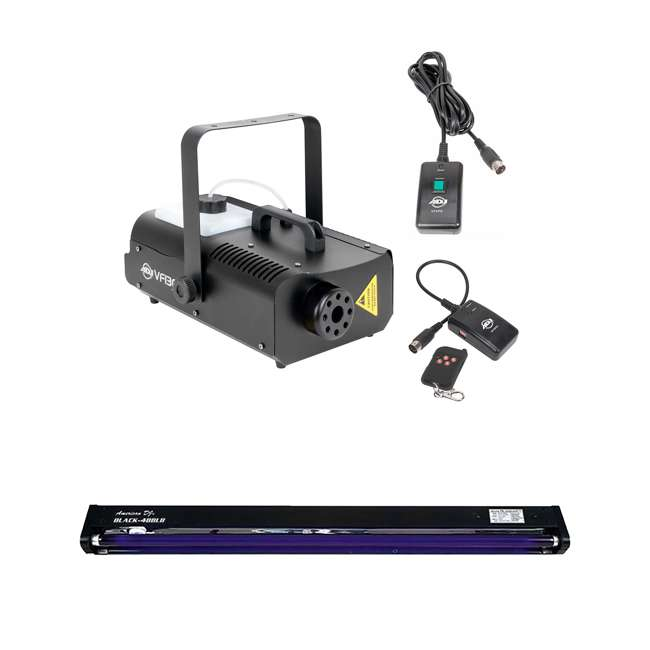 VF1300 + BLACK-48BLB American DJ 2.3 L Tank Mobile Fog Machine w/ Remote Controls & 48in Black Light