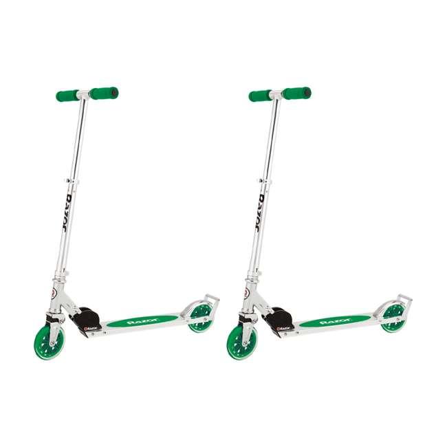 13014330 Razor A3 Folding Aluminum Kids Kick Scooter, Green (2 Pack)