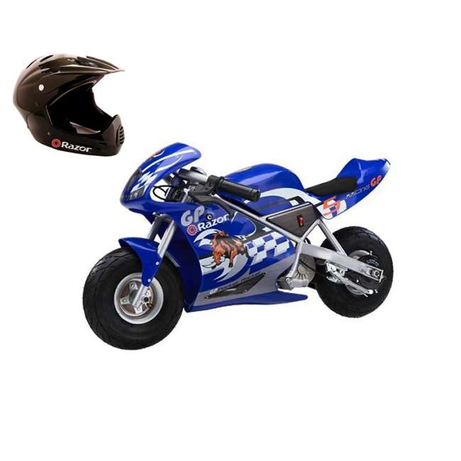 15120040 + 97775 Razor Pocket Rocket Bike Electric Moto Bike(Blue) & Youth Sport Helmet (Black)