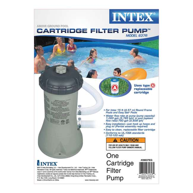 I28637 Intex 1000 GPH Above Ground Swimming Pool Cartridge Filter Pump (Pump Only) 3