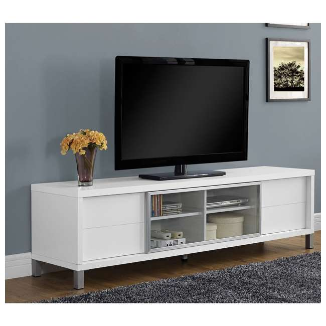 VM-2537 Monarch Specialties 70 Inch European Style Television Stand Media Center, White 1