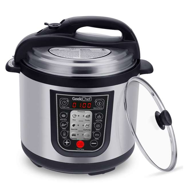 YBW60-GlassLid Geek Chef YBW60 11 in 1 Multi Function 6 Quart Slow and Pressure Cooker (2 Pack) 1
