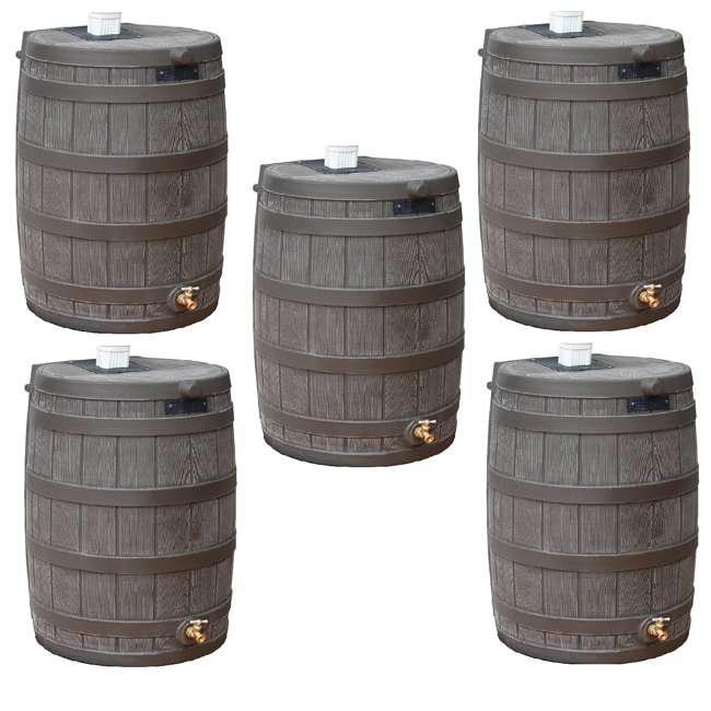5 x RW50-OAK Good Ideas Rain Wizard 50 Gallon Plastic Rain Barrel with Brass Spigot (5 Pack)