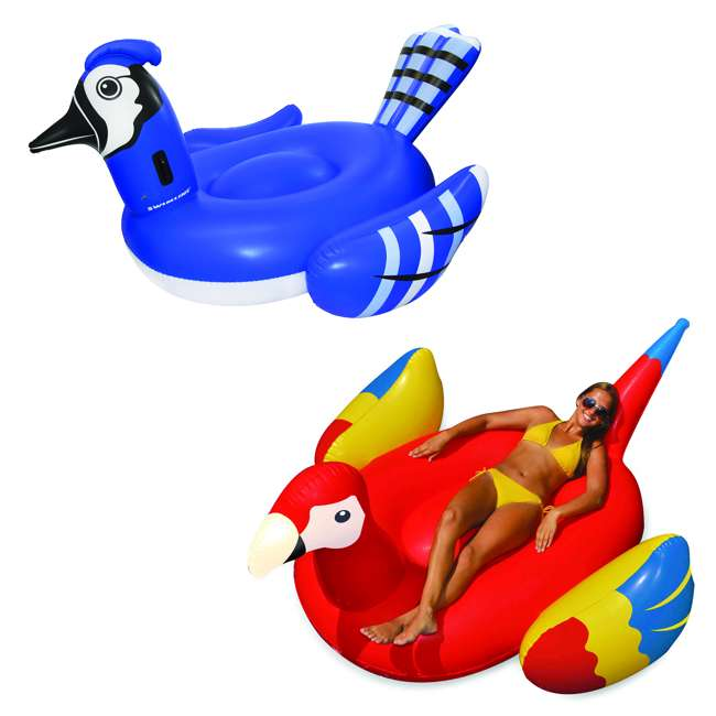 SL-90720M + 90629 Inflatable Blue Jay Pool Float Bundled w/ Giant Tropical Parrot Inflatable Float