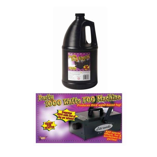 61068 + 61070 Halloween 1000W Fog Machine & Remote with Juice Fluid 1