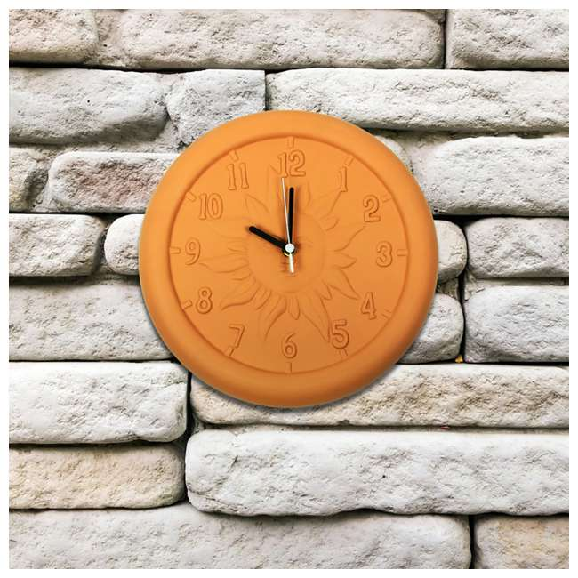 52550 Poolmaster 12-Inch Terra Cotta Decorative Patio Wall Clock 1