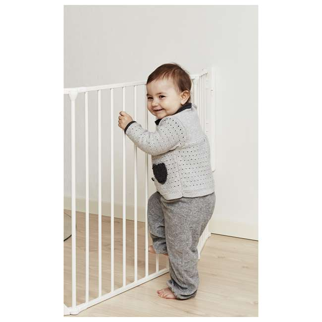 "BBD-56814-10400 BabyDan Flex Hearth 35.4-109.5"" XL Size Safety Baby Gate for Fireplace, White 4"