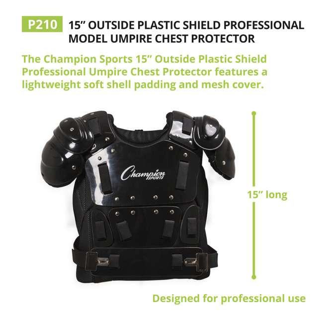 P210 Champion Sports 15 Inch Baseball Outside Shield Umpire Chest Protector, Black 3