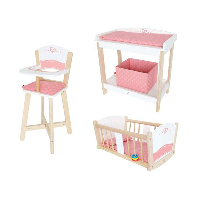 Hape Wooden Baby Doll Highchair + Play Baby Cradle + Diaper Changing Table  : HAP E3600 + HAP E3601 + HAP E3602