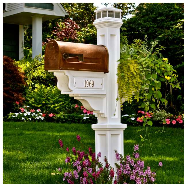 MO-5810-W Mayne Outdoor 5810 Dover Plastic Mailbox Post Pole Mount w/ Paper Holder, White 2