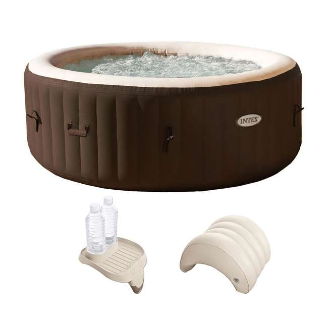 28403VM + 28500E + 28501E Intex PureSpa 4-Person Hot Tub with Cupholder and Headrest