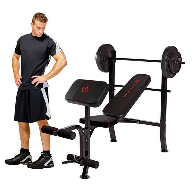 MKB-2081-U-C Marcy Pro Home Gym Standard Weight Bench w/ 80 LB Weight Set, Black (For Parts) 2