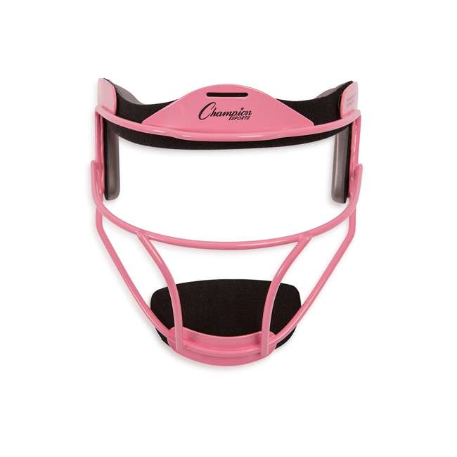 FMAPK Champion Sports Adult Softball Fielders Adjustable Protective Face Mask, Pink