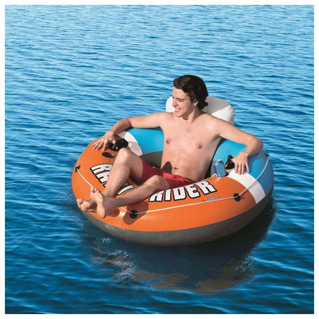 43116E-BW-NEW + 2 x 15496-BW Bestway CoolerZ Inflatable Orange River Tube (2 Pack) & Blue River Tube (2 Pack) 7