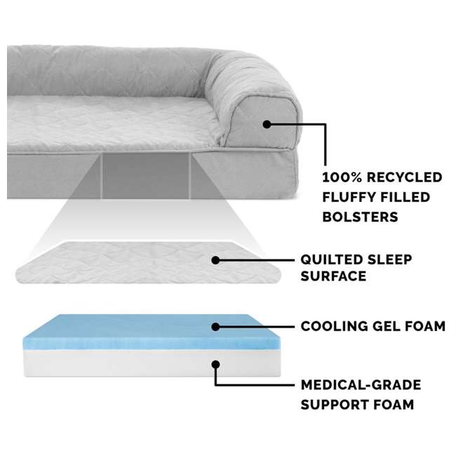 84541087BX Furhaven Cooling Gel Memory Foam Sofa Style Couch Dog Bed, Silver Gray, Jumbo 3