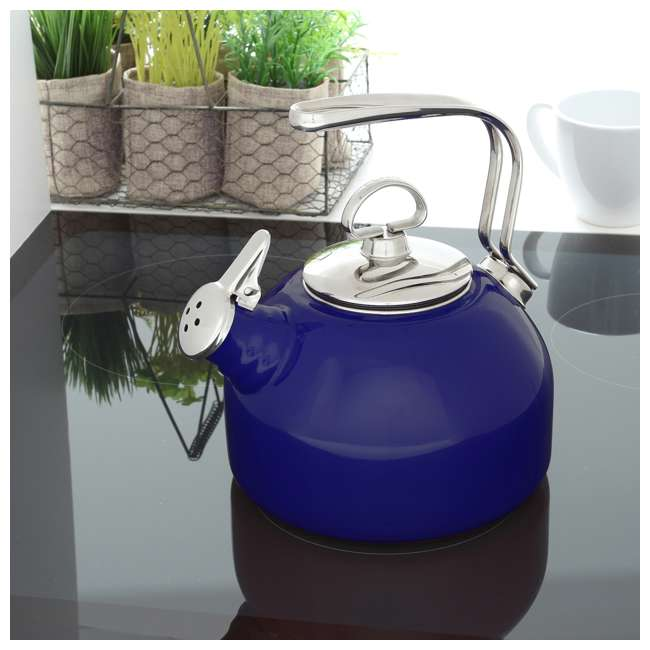 37-18S-BL Chantal 1.8 Quart Enamel Stove Top Whistling Teapot Kettle, Blue (2 Pack) 3