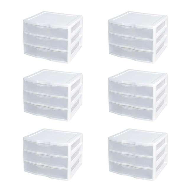 6 x 20938003 Sterilite Wide 3 Drawer Desktop Storage Unit (6 Pack)
