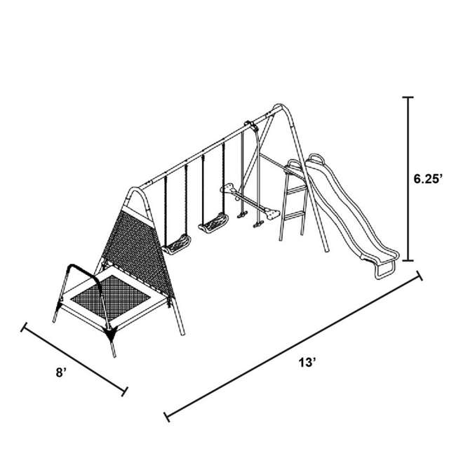 MSC-3242-BM Almansor Metal Outdoor Swing Set with Trampoline 1