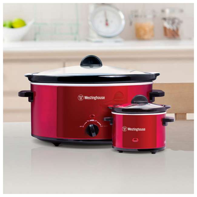 WSC801RD Westinghouse 8-Quart Stainless Steel Slow Cooker with Warmer, Red 1