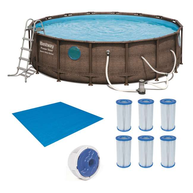 56726E-BW + 6 x 58012E-BW Bestway Power Steel 16x4 Ft Pool Set with Accessories