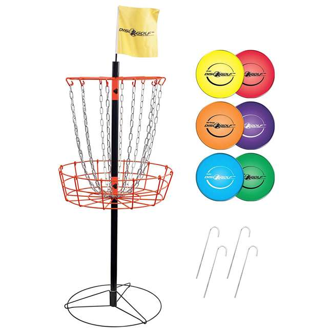 PS-DGS-II Park & Sun Sports Disc Golf Steel Basket w/ 6 Throwing Discs