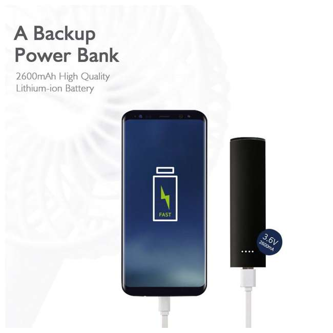GF2DB Geek Aire Mini 4 In Cordless Personal Handheld Fan w/ Power Bank Feature, Black 2