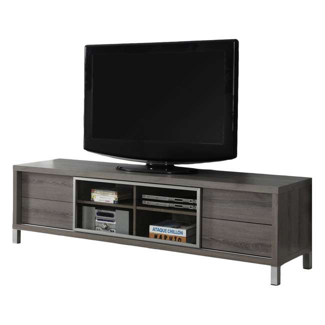 """VM-2536 Monarch Specialties 70"""" Dark Taupe Euro Style TV Entertainment Stand (2 Pack) 1"""