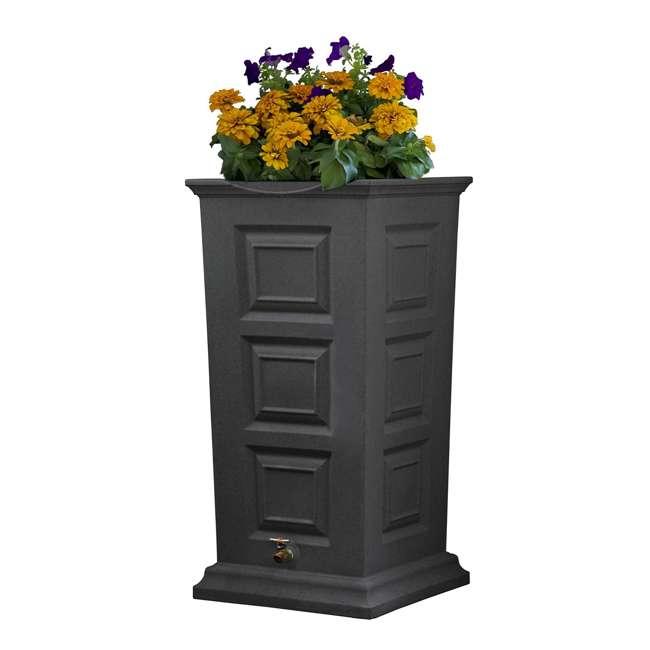 SV-RS-DAR Good Ideas Savannah Outdoor 55 Gallon Rain Barrel and Planter, Dark Granite
