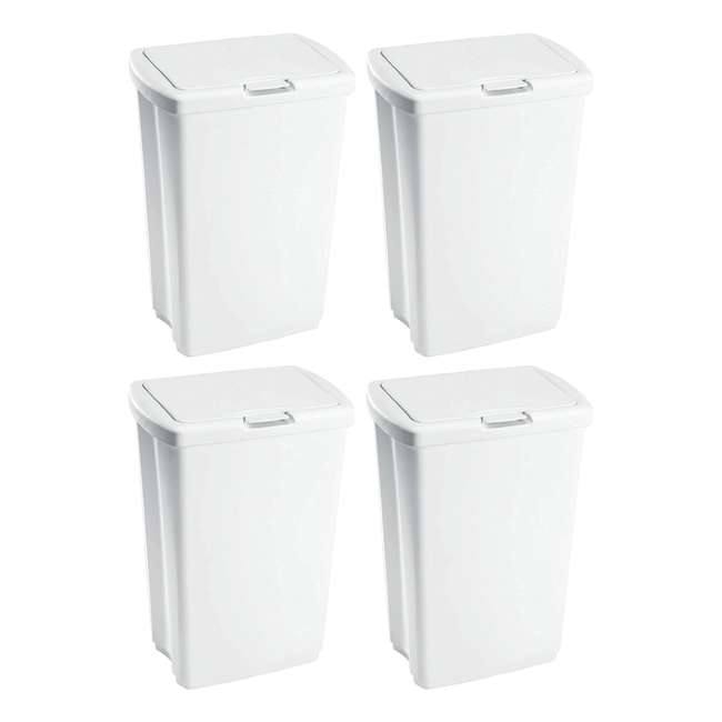 4 x FG233900WHT Rubbermaid 13.25 Gallon Rectangular Spring-Top Lid Wastebasket, White (4-Pack)