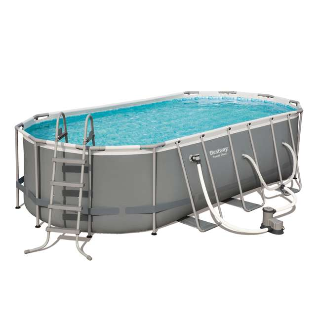 56711E-BW + 58422E-BW Bestway Power 18 x 9 x 4 Foot Above Ground Pool Set with Pump & Aqua Vacuum 1