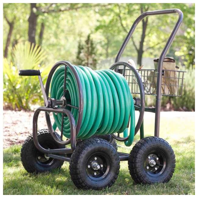 871-M1-1 Liberty Garden 871 4 Wheel 250 Foot Steel Frame Water Hose Reel Cart with Basket 1