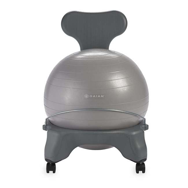 05-62215-U-C Gaiam Classic Gym Yoga Fitness Balance Ball Office Desk Chair, Gray (For Parts)