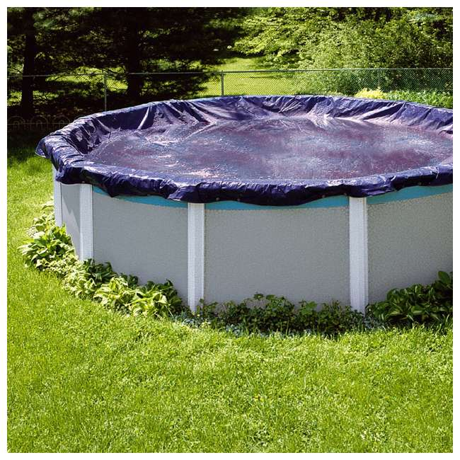 PCO831-U-A Swimline  28-Foot Round Above Ground Pool Cover, Blue + Tools (Open Box)(2 Pack) 1