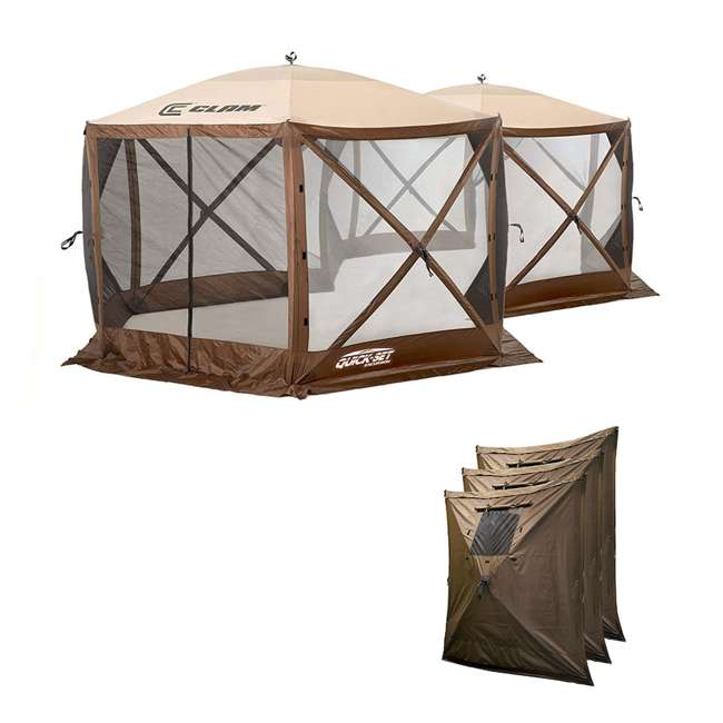 CLAM-EXC-10731 + CLAM-WP-9898 Clam Quick Set Excursion Canopy + Wind & Sun Panels (3 Pack)