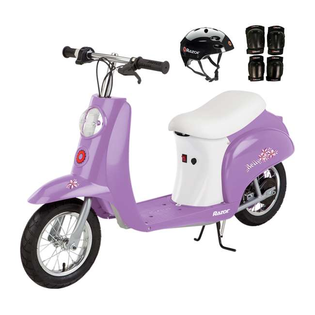 15130661 + 97778 + 96785 Razor Pocket Mod Betty Kids Electric Motor Scooter with Knee Pads