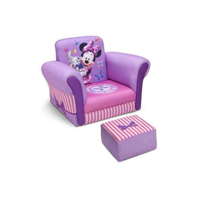 UP85811MN-1058 Delta Children Kids Minnie Mouse Upholstered Lounge Chair Armchair with Footrest 2