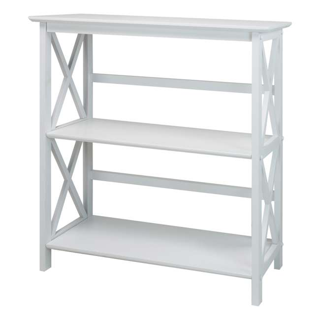 324-31 Casual Home Montego 3 Shelf X Design Folding Stackable Wood Bookcase, White
