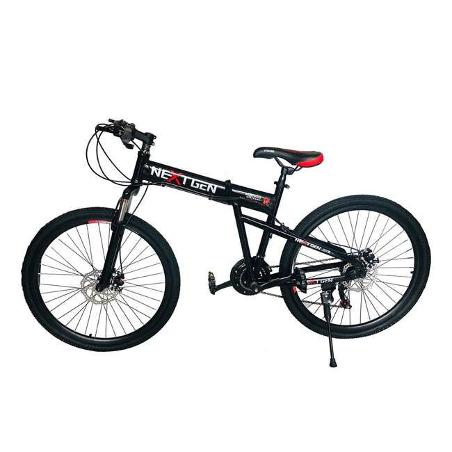"MTB011-BLK NextGen 26"" 21 Speed Shimano Foldable Hardtail Downhill Mountain Bike, Black 2"