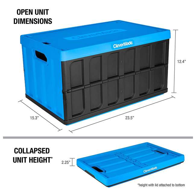 8034119-21843PK CleverMade Durable Stackable 62L Collapsible Storage Bins, Neptune Blue (3-Pack)
