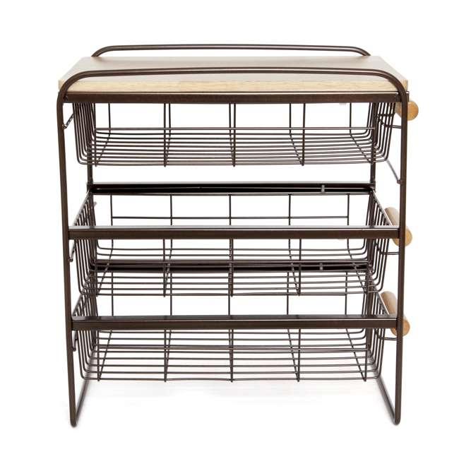 RA3TS-WB-BRN Origami Kitchen Countertop 3-Drawer Wood Top Organizer, Brown